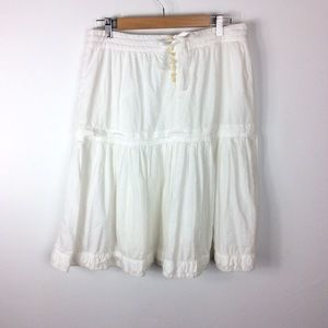 J. Crew Boho Peasant Tie Back Skirt White Size 8